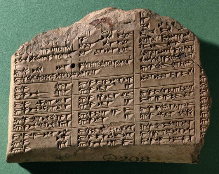רשימת מלאי של אבנים בכתב יתדות